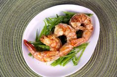 Shrimp with Grilled Lemon and Mint Recipe