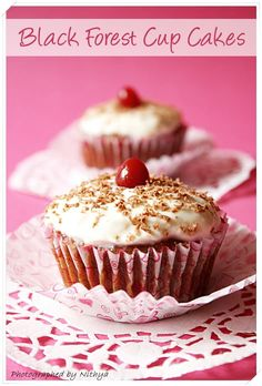 Eggless Black Forest Cupcakes