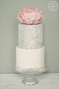 Wedding cake with silver sequins and giant pink peony - Cotton and Crumbs