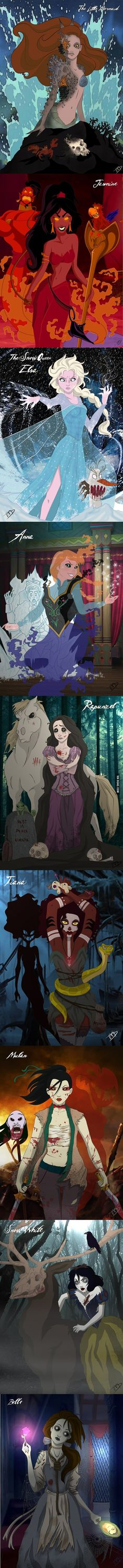 What if Ariel lost her deal with the witch? If Jasmine got stuck with Jafar? If Elsa gone bad? If Anna got killed? If Rapunzel couldn't save Eugene? If Tiana went with the Dark Arts? If Mulan went with the Huns? If Snow White got killed by the Huntsman? If Belle got hung for loving the Beast?