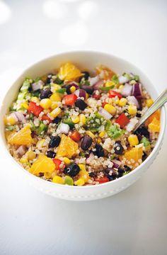 black bean, orange, and corn quinoa salad