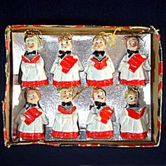Box Choir Boy Porcelain Bell Christmas Ornaments 1950s Japan. Click on the image for more information.