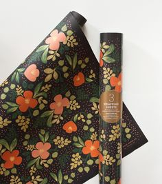 Midnight Floral Wrapping Sheets