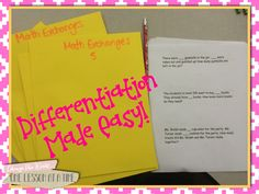 Math Differentiation Made Easy! Here's a great idea for anyone that is looking for ways to effectively use support teachers to differentiate math instruction. Even if you are on your own, this is a simple way to work on word problems that doesn't require a ton of extra planning!