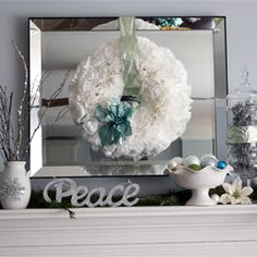 Bright, fresh Christmas mantle using whites, silver, turquoise and lime.