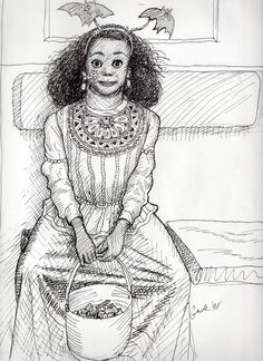 Drawn while commuting home to Connecticut from my job at Newsweek. I asked her if I could draw her and she stiffened up and didn't move a muscle until I was done. Adorable! —Karl Gude muscl