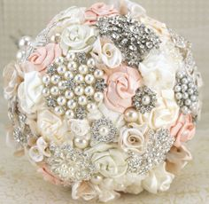 Brooch Bouquet Pearl Bouquet Bridal Bouquet in Blush by SolBijou, $350.00