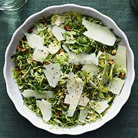 Shaved Brussels Sprouts Salad - roasted using Cooks Illustrated recipe first then mixed in remaining ingredients