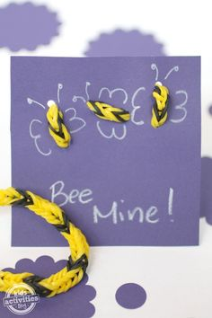 This is a super easy band bracelet valentine for kids to make.  Just thread the bracelet through some hole punches and add wings.  via Kids Activities Blog