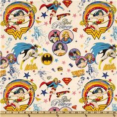 Super Girl, Wonder Woman, Batgirl Light Pink fabric