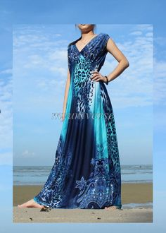 Plus Sizes Clothing Blue Maxi Dress Women Long Dress Prom Dress Bridesmaid Dress Leopard