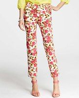 """Retro Floral Print Stretch Cotton Ankle Pants - Fresh picked for summer, our slim ankle pants boast radiant retro florals popped in vibrant color - and chic ankle slits. Pair with bright strappy heels for an added boost of sunshine. Contoured waistband. Front zip with double hook-and-bar closure. Belt loops. Back welt pockets. Side slits. 27"""" inseam.4"""