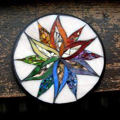 Rainbow Starflower Mandala Mosaic ©nutmegdesigns on Etsy