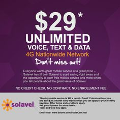 Do you know 3 friends? Then you can get $29/Month Unlimited Mobile!  http://www.socialcommercejedi.com/29-month-unlimited-text-data-calling