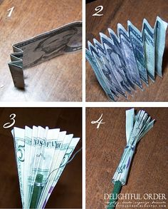 How to stick money in a gift basket