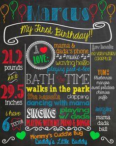 Balloon+First+Birthday+Chalkboard+Poster+by+PersonalizedChalk,+$37.00