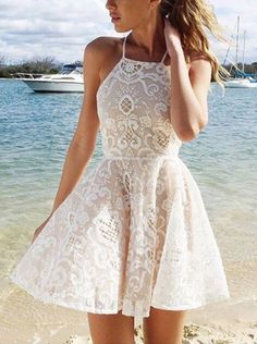 A-line Halter Short White Criss-Cross Straps Lace Homecoming Dress With Pleats