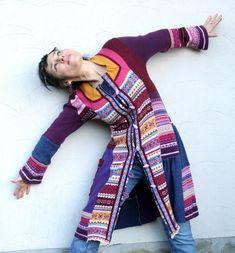 I love her POLISH verve!  fantasy recycled sweater coat jacket boho folk by jamfashion