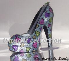 Multi-colored Hearts High Heel Shoe TAPE DISPENSER Stiletto Platform - office supplies - trayart collection. $29.50, via Etsy.