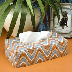Traditional Elegance Tissue Box Cover Plastic Canvas Pattern ePattern - Leisure Arts