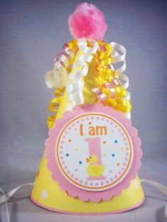 Birthday Party Hat  Little Rubber Ducky DUCK   Boy by 10candles, $7.00