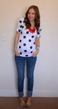 merrick art, diy shirt, polka dots, maternity fashion, maternity outfits, diy clothes, art tutorials, stella dot, maternity styles