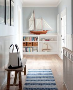 wall colors, interior, sailboats, bench, beach houses, sail boats, shelv, hallway, nautical theme