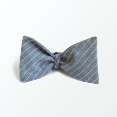 Men's Bowtie, Gray and Off White Stripe Cotton Fabric Men's Self Tie Bow Tie, Wedding and Gift for Him / READY TO SHIP