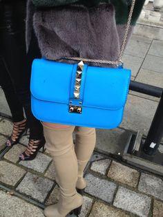 Statement bag alert! The bright blue Valentino Rockstud bag at #LFW