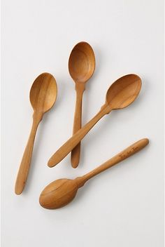 """Tectona Spoons. Four handcarved teak spoons, to stir up tea or slurp up soup.  Set of four.  Teak.  Hand wash.  5.5""""H   #073258  $18.00 Color:Brown  http://www.anthropologie.com/anthro/catalog/productdetail.jsp?id=073258&catId=HOME-SERVE&pushId=HOME-SERVE&popId=HOME&navAction=top&navCount=240&color=020&isProduct=true&fromCategoryPage=true&subCategoryId=HOME-SERVE-UTENSILS"""