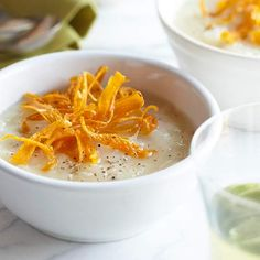 Fun, crunchy little carrot shaving liven up this delightful Rosemary Potato Soup recipe. #soup #winter #fall #autumn #potato #carrots #food #vegetables #lunch #dinner