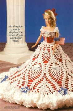 crochet patterns Fashion Doll Barbie Gown Let Freedom Ring Patriotic..46.30.3 qw