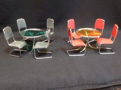 2-TABLES-8-CHAIRS-VINTAGE-METAL-DOLLHOUSE-FURNITURE-EAMES-MODERN-MID-CENTURY