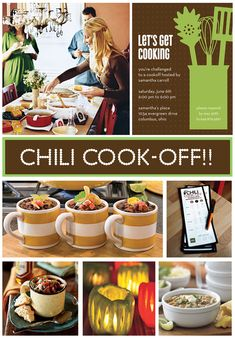 Cute party idea. Host a Chili Cook-Off.