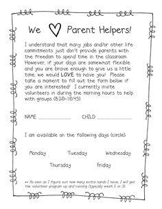 Parent/Back to School Form Ideas