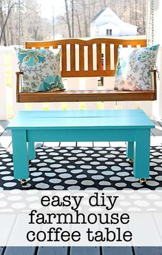 Easy farmhouse style DIY coffee table plans - the perfect compliment to a porch swing! The Shabby Creek Cottage #porch #diy