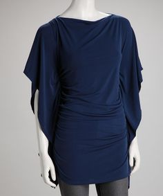 Take a look at this Blue Ruched Edo Cape-Sleeve Tunic by Body Language on #zulily today!