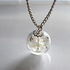 Dandelion Necklace Make A Wish 02 Glass by NaturalPrettyThings