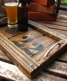 reclaimed wood pallet tray - DM Heritage & Co. PA 22 collection Like our Facebook page! https://www.facebook.com/pages/Rustic-Farmhouse-Decor/636679889706127