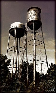 Twin water towers at the Graniteville Company in Graniteville, SC