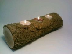 Log Tealight Log Candle Holder Rustic by DeerwoodCreekGifts, $20.00