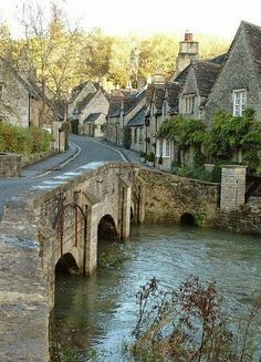 """""""And Castle Combe presents this charming scene, of hill, woods and meadows cloth'd in green. Here grand terrestrial scenes, almost celestial nice, makes Castle Combe, sweet vale, an earthy Paradise.""""  ~  Edward Dowling (19th Century)  Castle Combe, Wiltshire, England  via Wendy McDonagh-Valentine"""