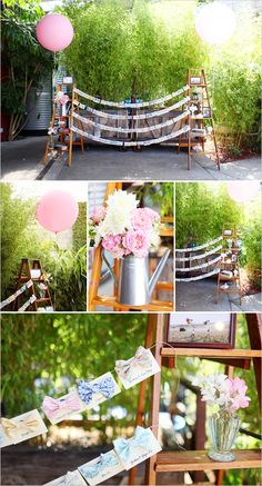 escort cards, instead of ladders, use some sort of pole and have a bunch of balloons around it. instead of bow ties, glitter cards