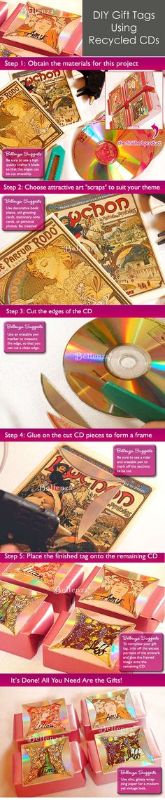 DIY favor tags - crafted from recycled CDs