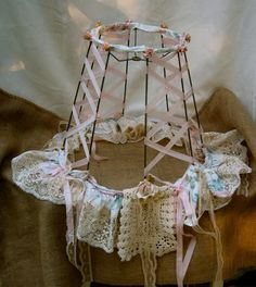 Shabby Chic Lamp and shade Upcycled tattered by Fannypippin,