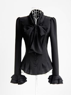 Stand Collar Black Blouse with Bow and ruffled Sleeves <3