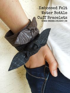 Heidi Borchers transforms embossed felt and water bottles into a Celine-inspired knotted cuff bracelet. Featured on www.cool2craft.com #diycrafts #celine #recycle