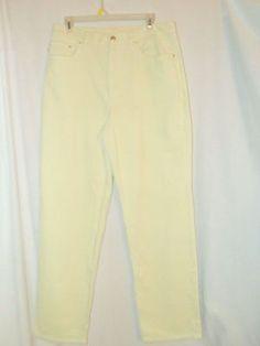 Sz 14 Lauren Jeans Co. Wide Wale Corduroy Jeans Cream Straight Leg 5 Pockets