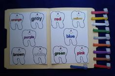 Toothbrush and Teeth Colors File Folder Game