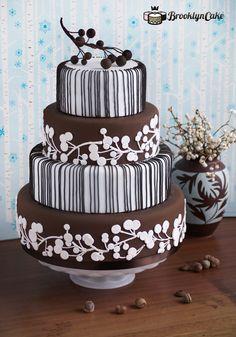 Brown Berries Autumn Wedding Cake